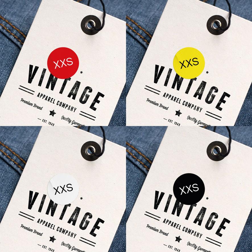 Maatstickers XXS rood, geel, wit, zwart rond 15mm kleding hangtag