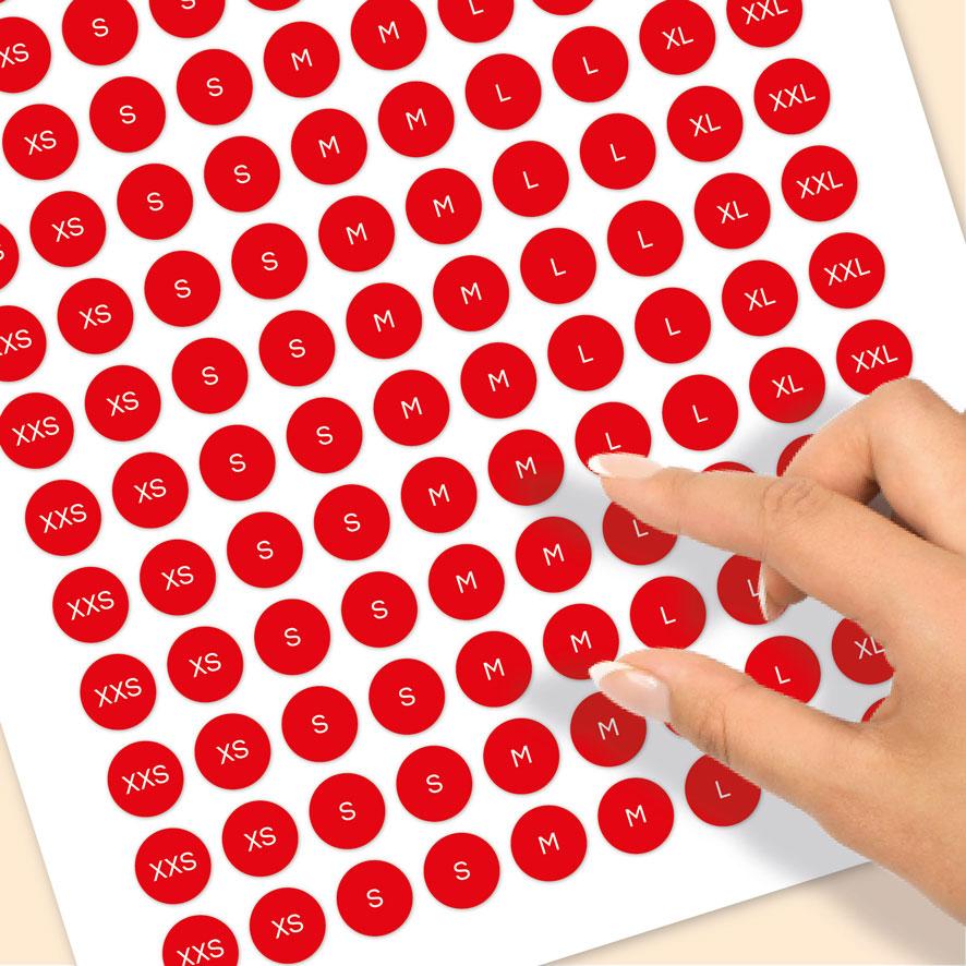 Stickervel maatstickers XXS, XS, S, M, L, XL, XXL rood rond 15mm