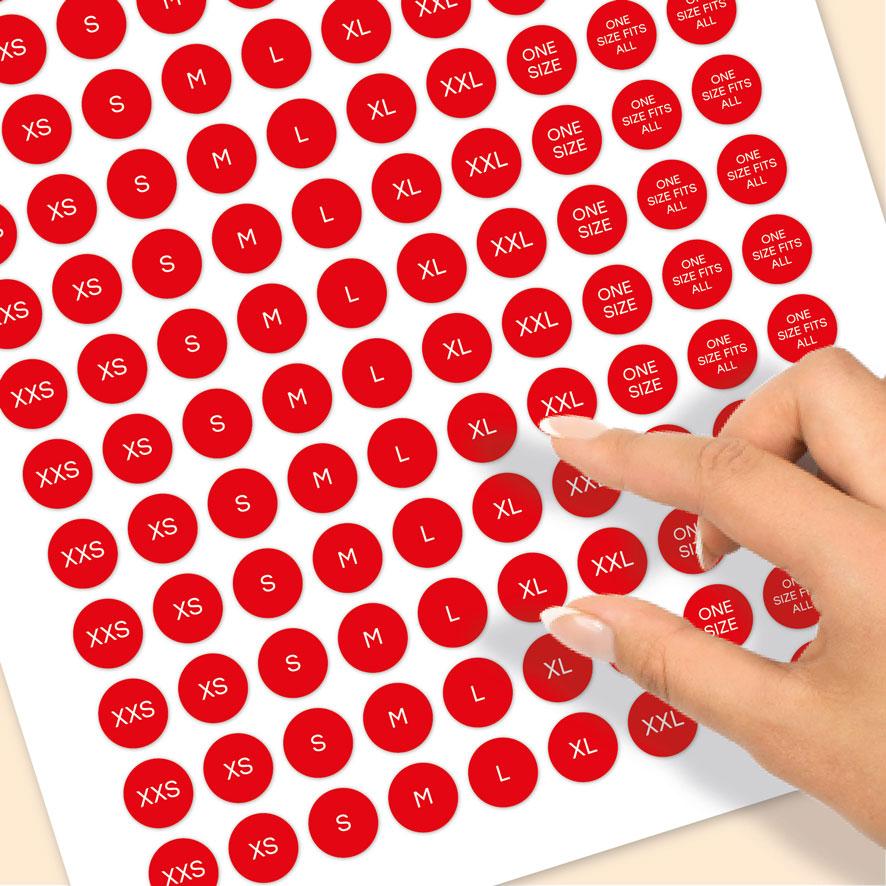 Stickervel maatstickers XXS, XS, S, M, L, XL, XXL ONE SIZE, ONE SIZE FITS ALL rood rond 15mm