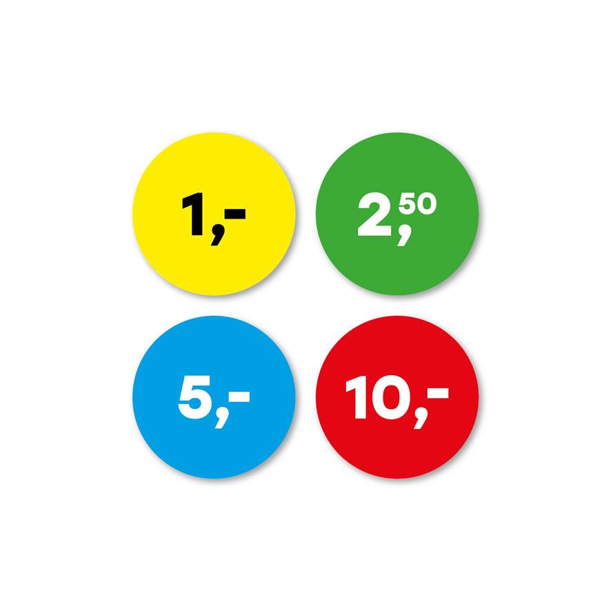 Prijsstickers 1 euro, 2,50 euro, 5 euro, 10 euro geel, groen, blauw, rood rond 30mm