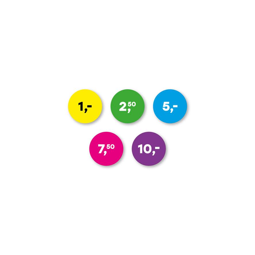 Prijsstickers 1 euro, 2,50 euro, 5 euro, 7,50 euro, 10 euro geel, groen, blauw, magenta, paars rond 15mm
