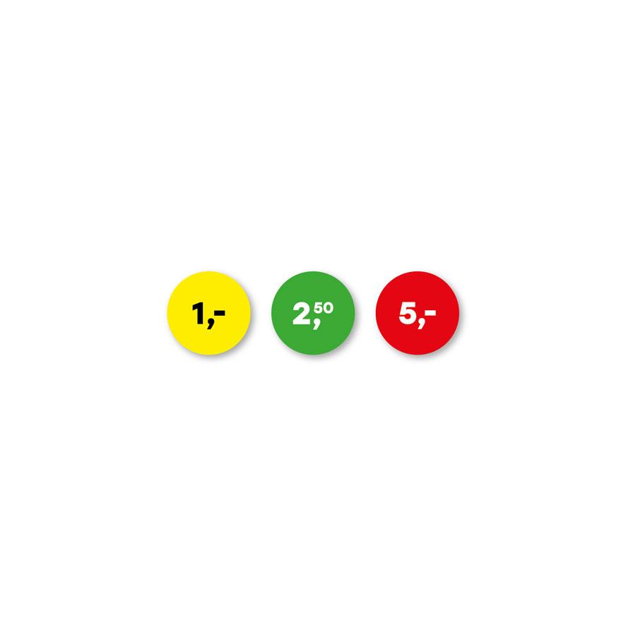 Prijsstickers 1 euro, 2,50 euro, 5 euro geel, groen, rood rond 15mm