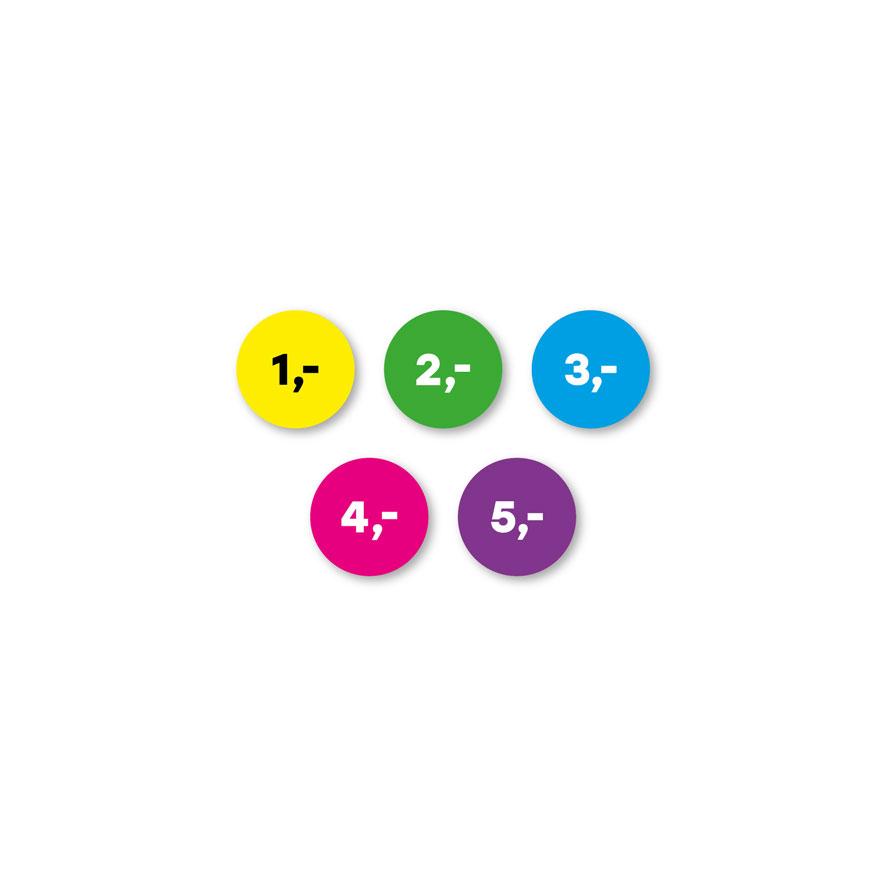 Prijsstickers 1 euro, 2 euro, 3 euro, 4 euro, 5 euro geel, groen, blauw, magenta, paars rond 15mm