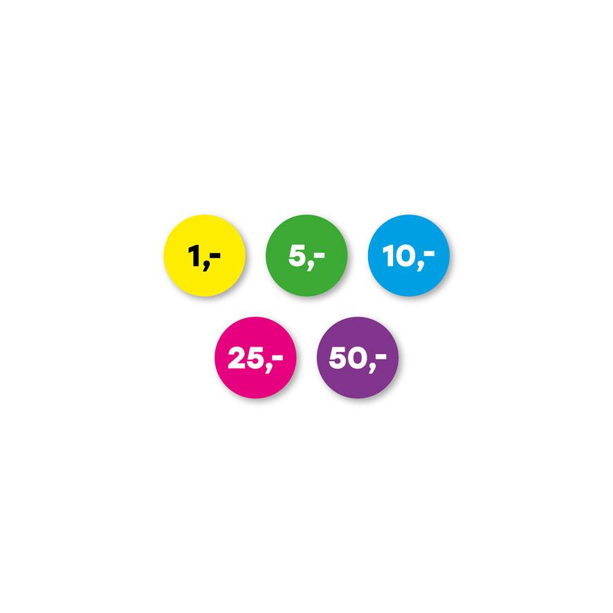 Prijsstickers 1 euro, 5 euro, 10 euro, 25 euro, 50 euro geel, groen, blauw, magenta, paars rond 15mm