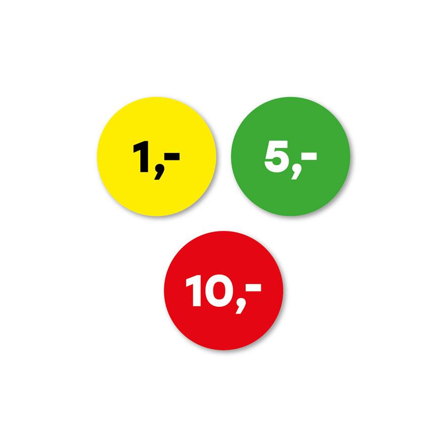 Prijsstickers 1 euro, 5 euro, 10 euro geel, groen, rood rond 30mm