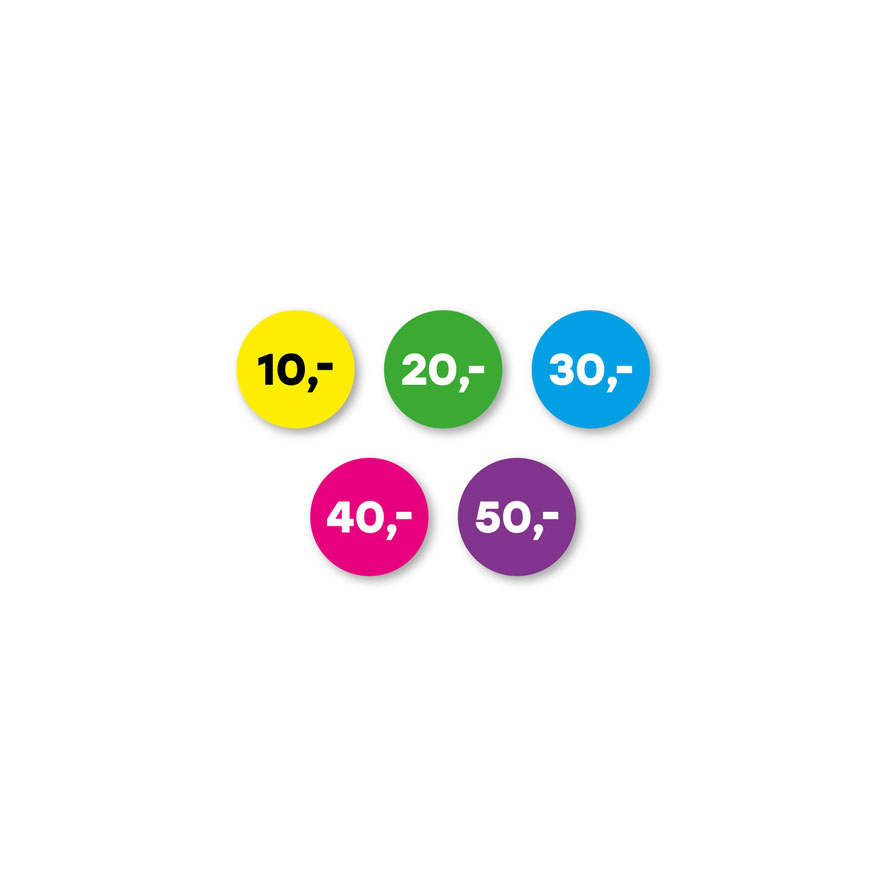 Prijsstickers 10 euro, 20 euro, 30 euro, 40 euro, 50 euro geel, groen, blauw, magenta, paars rond 15mm