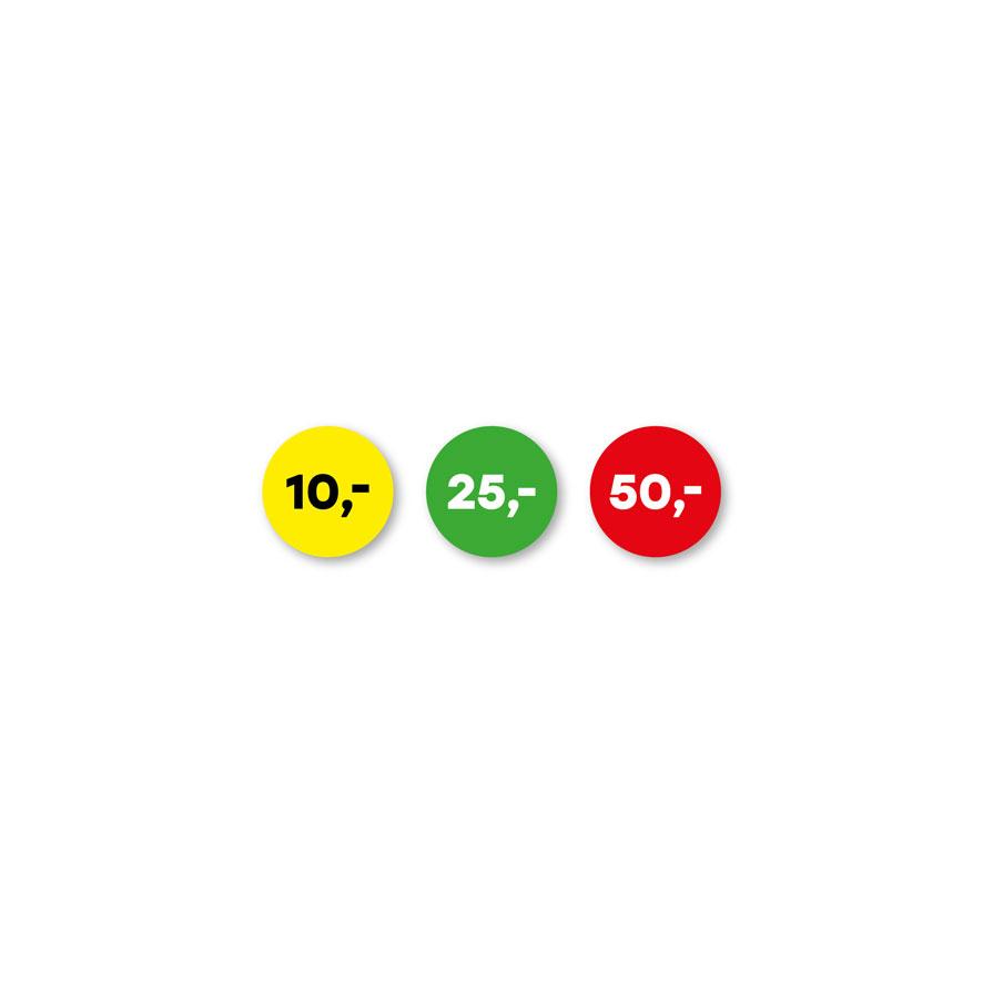 Prijsstickers 10 euro, 25 euro, 50 euro geel, groen, rood rond 15mm