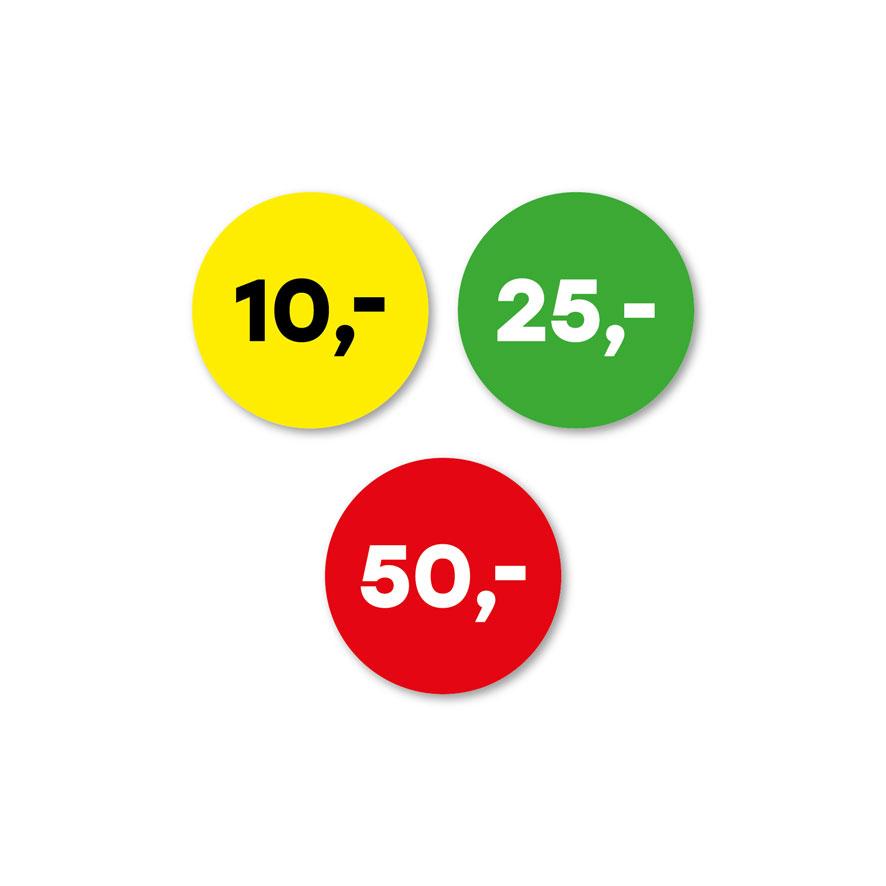 Prijsstickers 10 euro, 25 euro, 50 euro geel, groen, rood rond 30mm