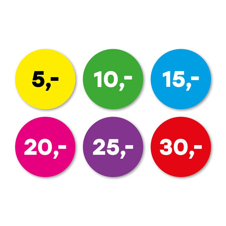 Prijsstickers 5 euro, 10 euro, 15 euro, 20 euro, 25 euro, 30 euro geel, groen, blauw, magenta, paars, rood rond 30mm