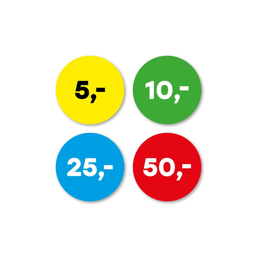 Prijsstickers 5 euro, 10 euro, 25 euro, 50 euro geel, groen, blauw, rood rond 30mm