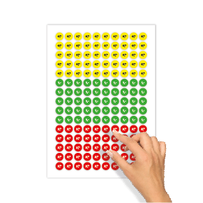 Prijsstickers 50 cent, 1 euro, 2,50 euro cent geel, groen, rood kleuren rond 15mm