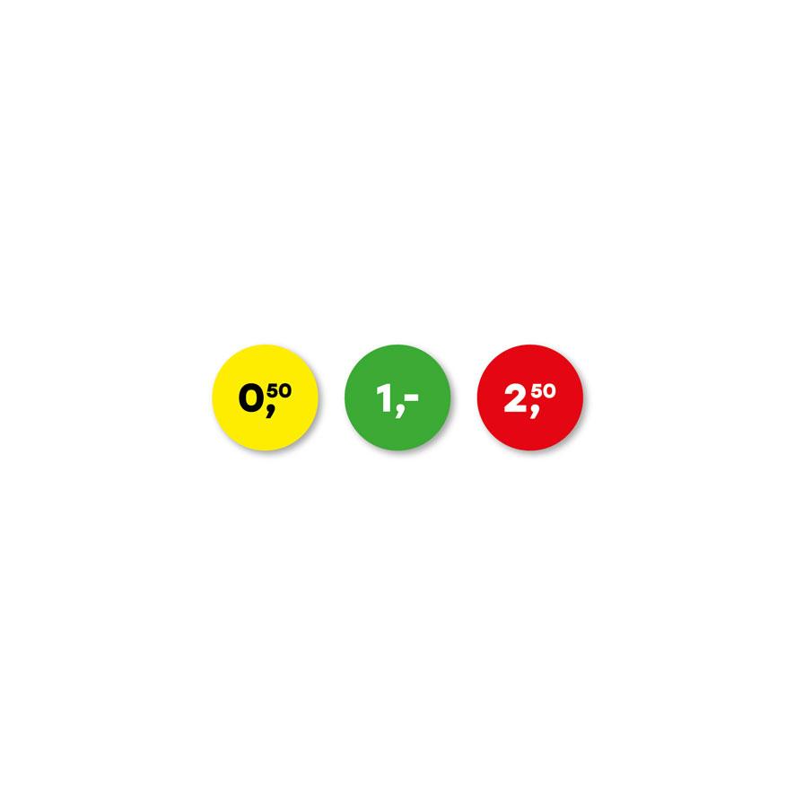 Prijsstickers 50 cent, 1 euro, 2,50 euro geel, groen, rood rond 15mm