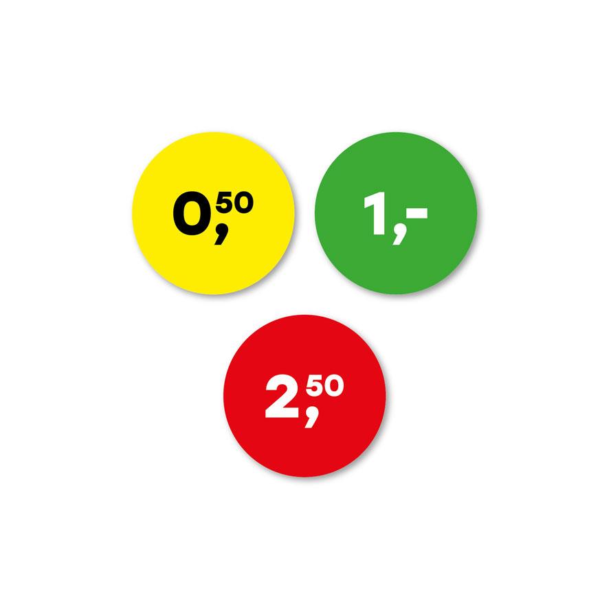 Prijsstickers 0,50 cent, 1 euro, 2,50 euro geel, groen, rood rond 30mm
