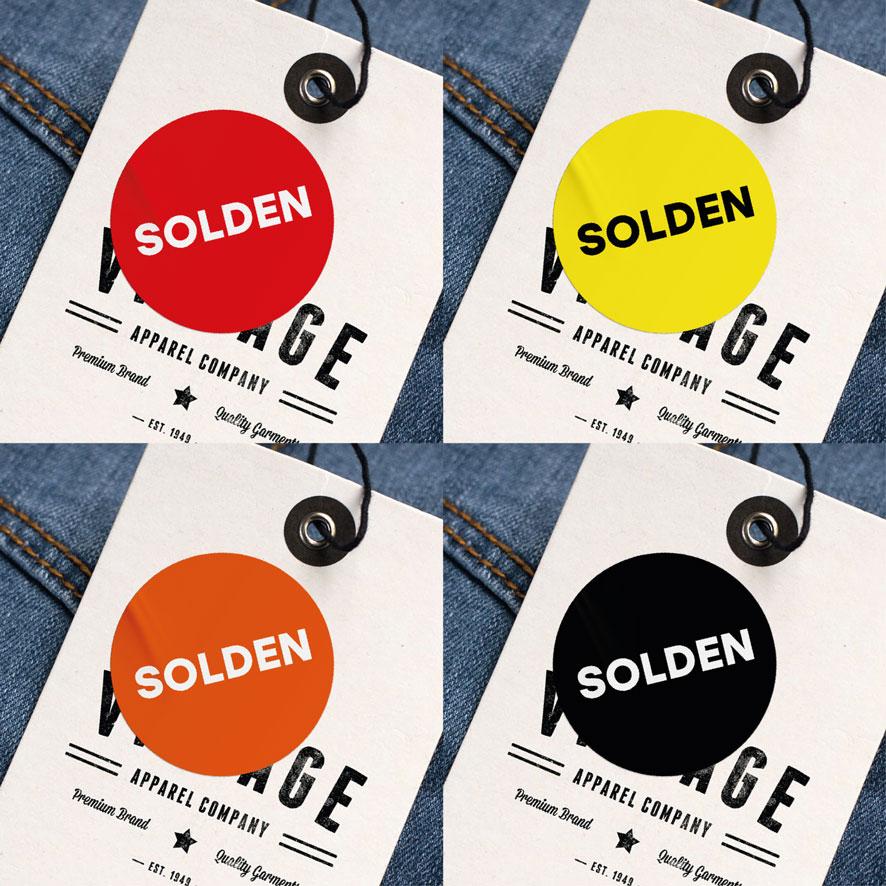 Solden stickers rood, geel, wit, zwart rond 15mm kleding hangtag