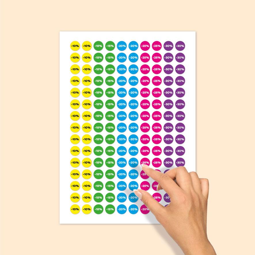 Stickervel kortingsstickers -10%, -15%, -20%, -25%, -30% geel, groen, blauw, magenta, paars rond 15mm