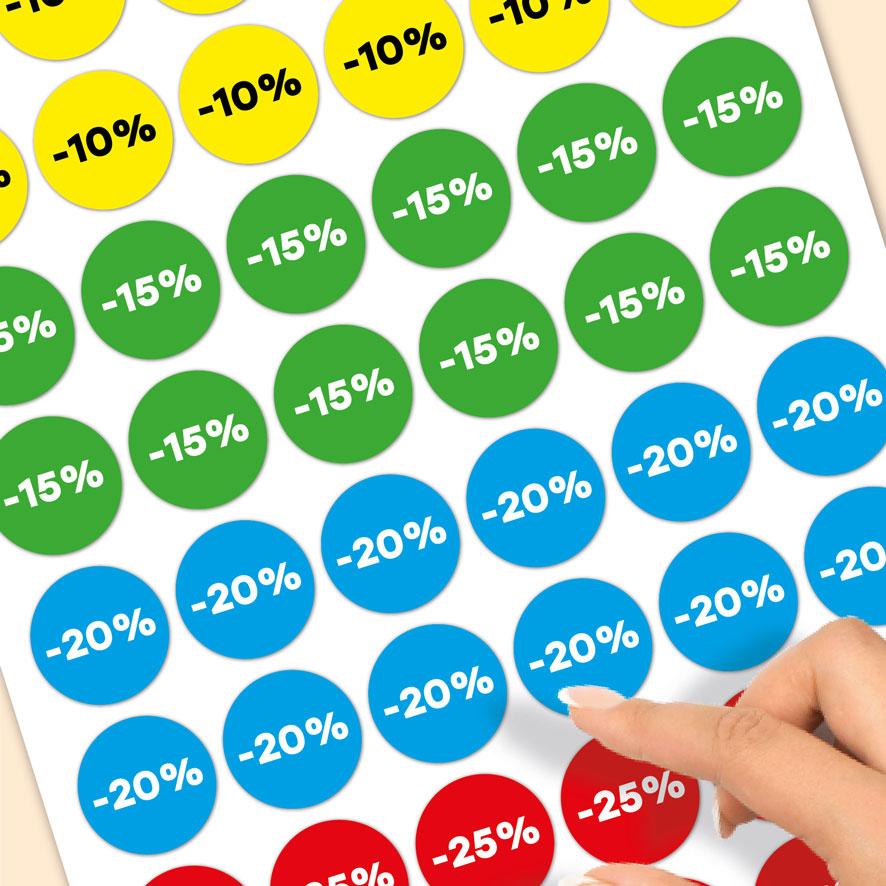 Stickervel kortingsstickers -10%, -15%, -20%, -25% geel, groen, blauw, rood rond 30mm close-up
