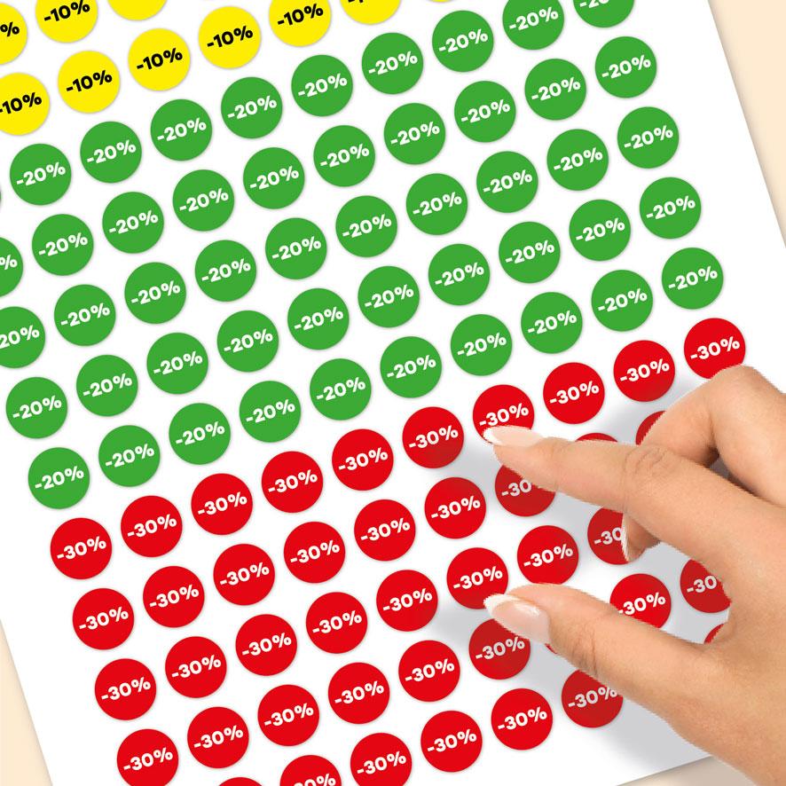 Stickervel kortingsstickers -10%, -20%, -30% geel, groen, rood rond 15mm close-up