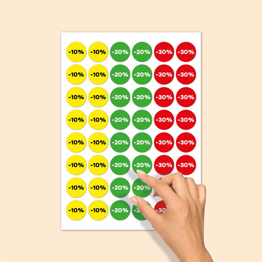 Stickervel kortingsstickers -10%, -20%, -30% geel, groen, rood rond 30mm