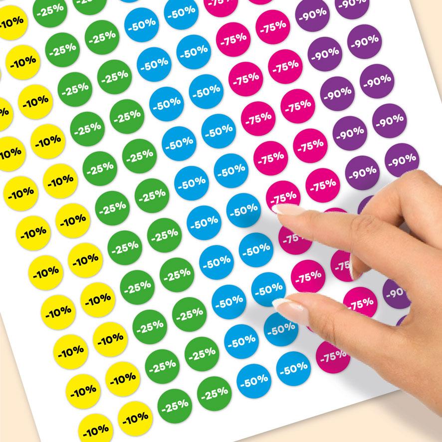 Stickervel kortingsstickers -10%, -25%, -50%, -75%, -90% geel, groen, blauw, magenta, paars rond 15mm close-up