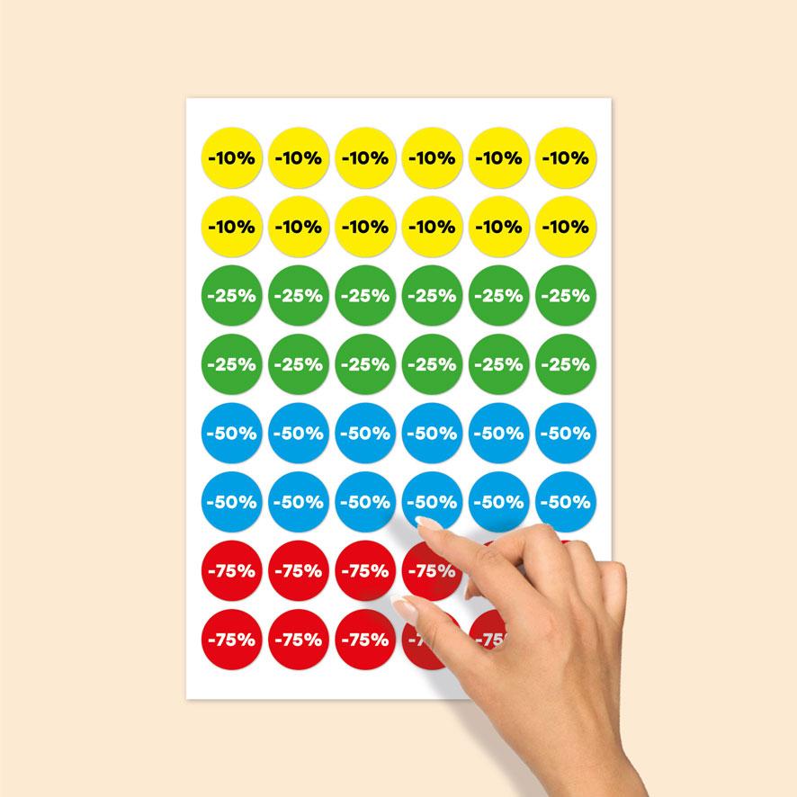 Stickervel kortingsstickers -10%, -25%, -50%, -75% geel, groen, blauw, rood rond 30mm
