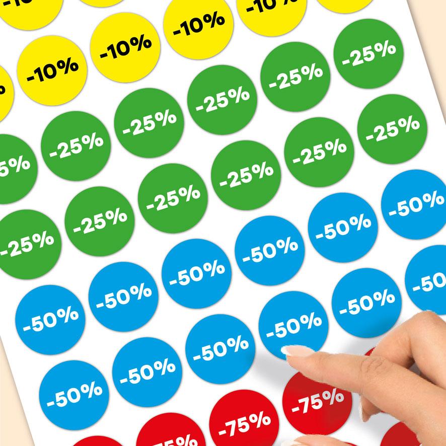 Stickervel kortingsstickers -10%, -25%, -50%, -75% geel, groen, blauw, rood rond 30mm close-up