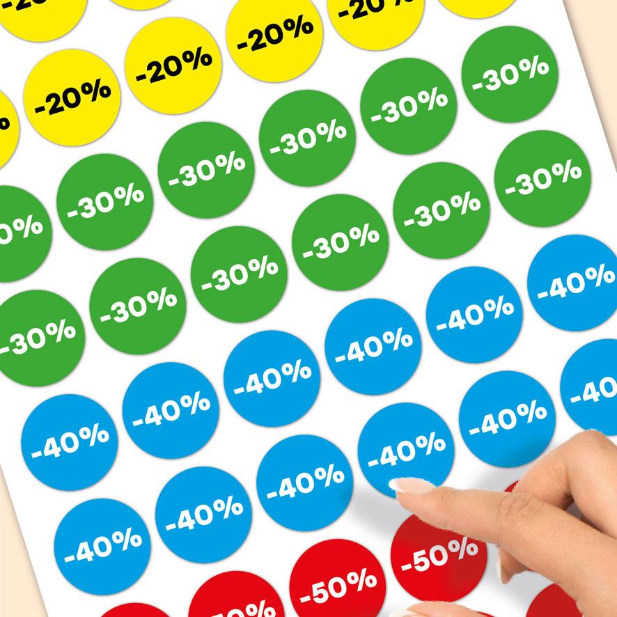Stickervel kortingsstickers -20%, -30%, -40%, -50% geel, groen, blauw, rood rond 30mm close-up
