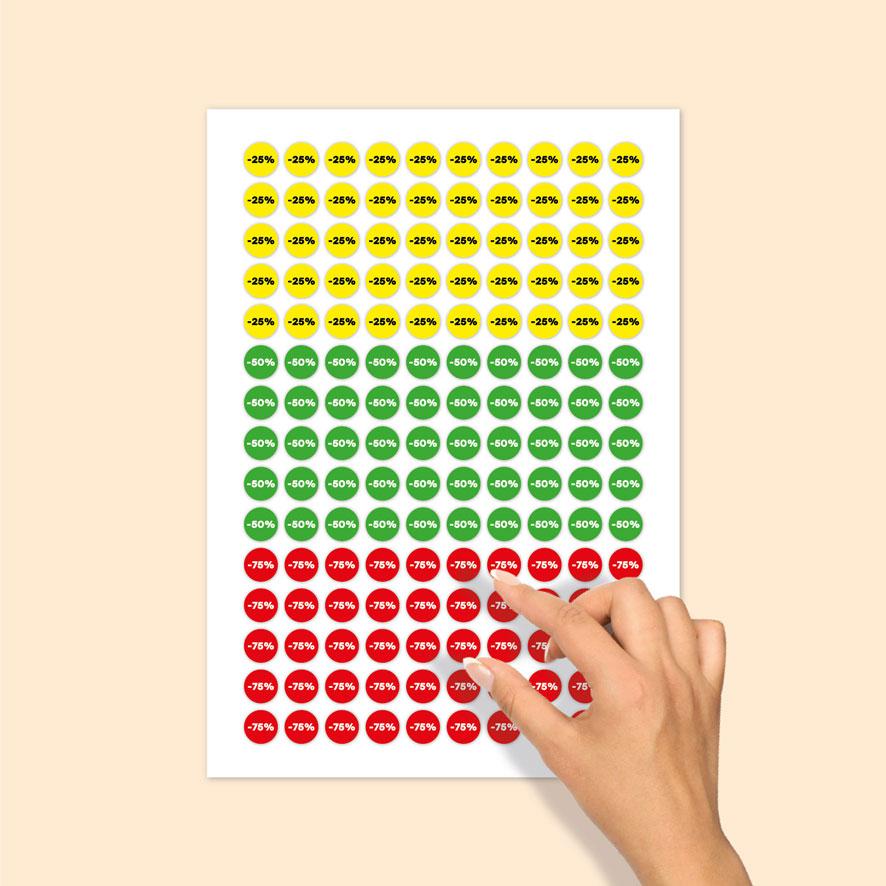 Stickervel kortingsstickers -25%, -50%, -75% geel, groen, rood rond 15mm
