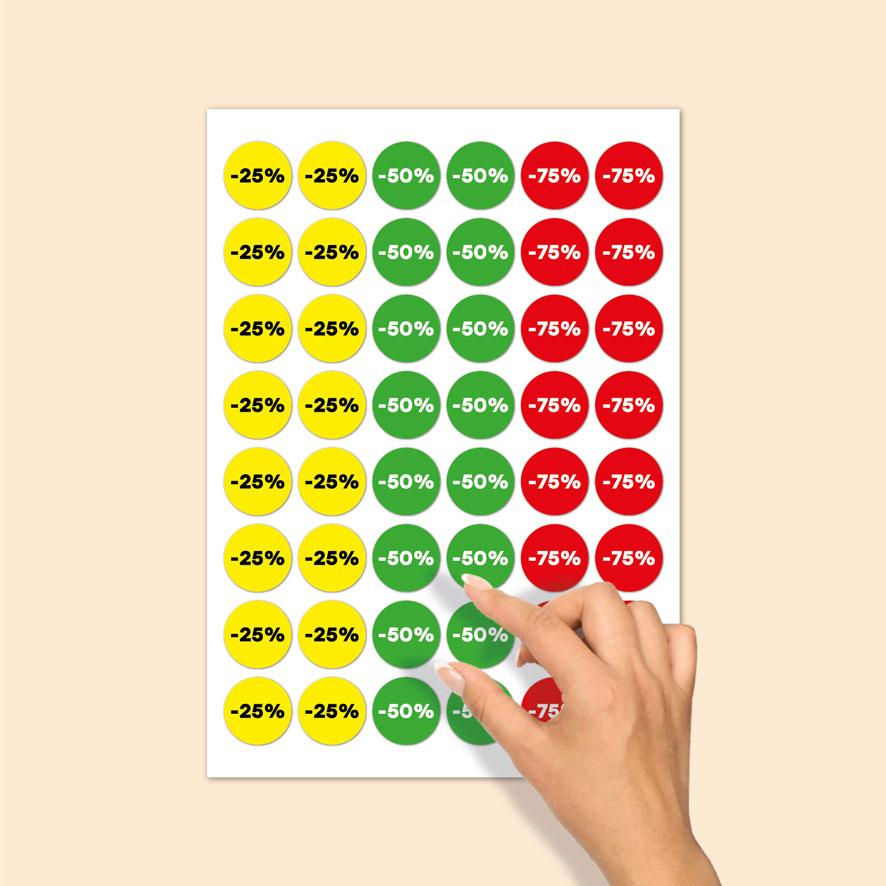 Stickervel kortingsstickers -25%, -50%, -75% geel,groen, rood rond 30mm