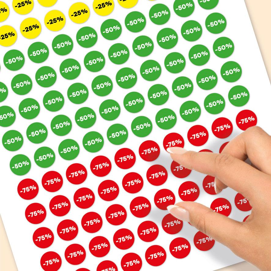 Stickervel kortingsstickers -25%, -50%, -75% geel, groen, rood rond 15mm close-up
