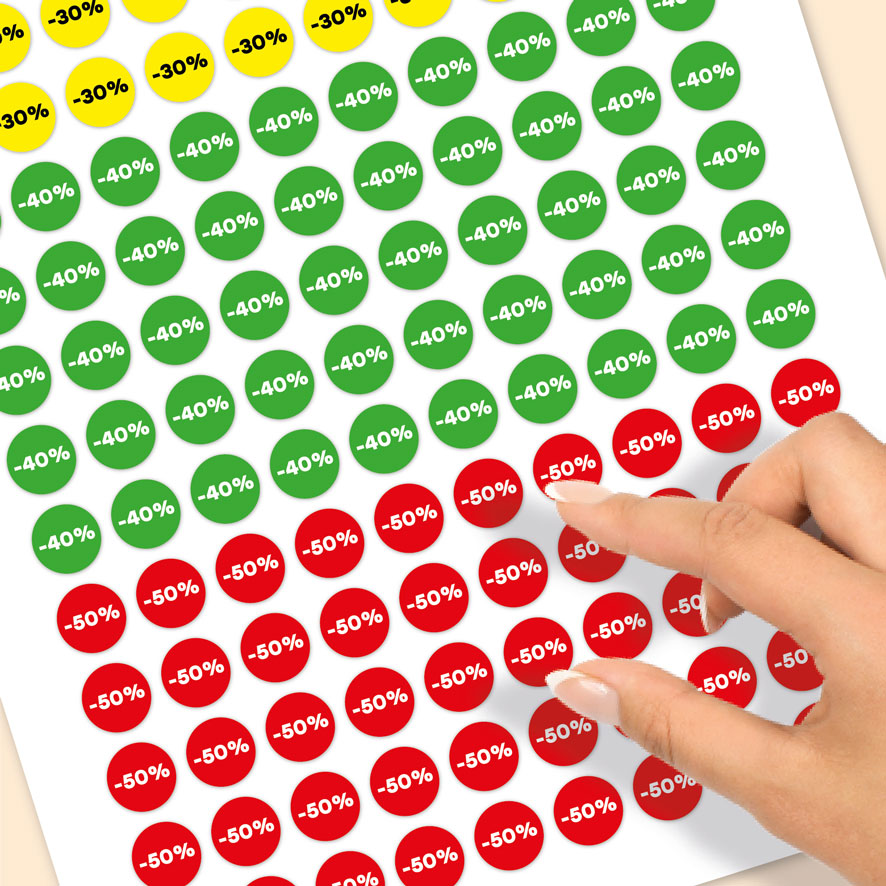Stickervel kortingsstickers -30%, -40%, -50% geel, groen, rood rond 15mm close-up