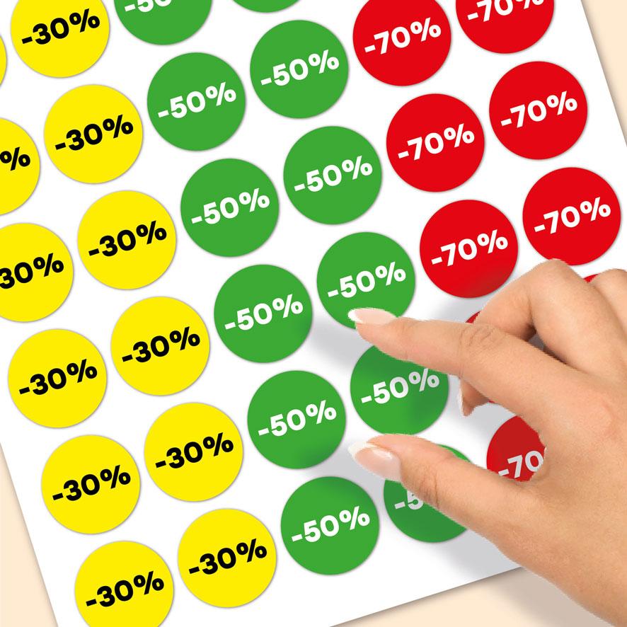 Stickervel kortingsstickers -30%, -50%, -70% geel, groen, rood rond 30mm close-up