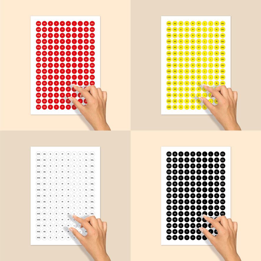 Stickervel maatstickers XXS, XS, S, M, L, XL, XXL rood, geel, wit, zwart rond 15mm