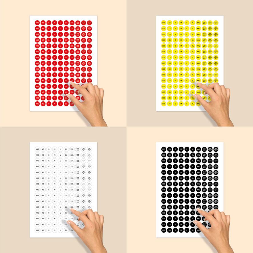 Stickervel maatstickers XXS, XS, S, M, L, XL, XXL ONE SIZE, ONE SIZE FITS ALL rood, geel, wit, zwart rond 15mm