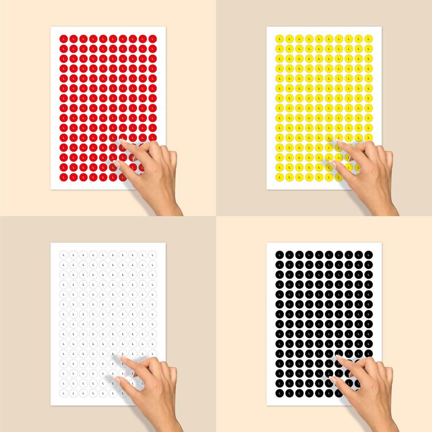 Stickervel maatstickers L rood, geel, wit, zwart rond 15mm