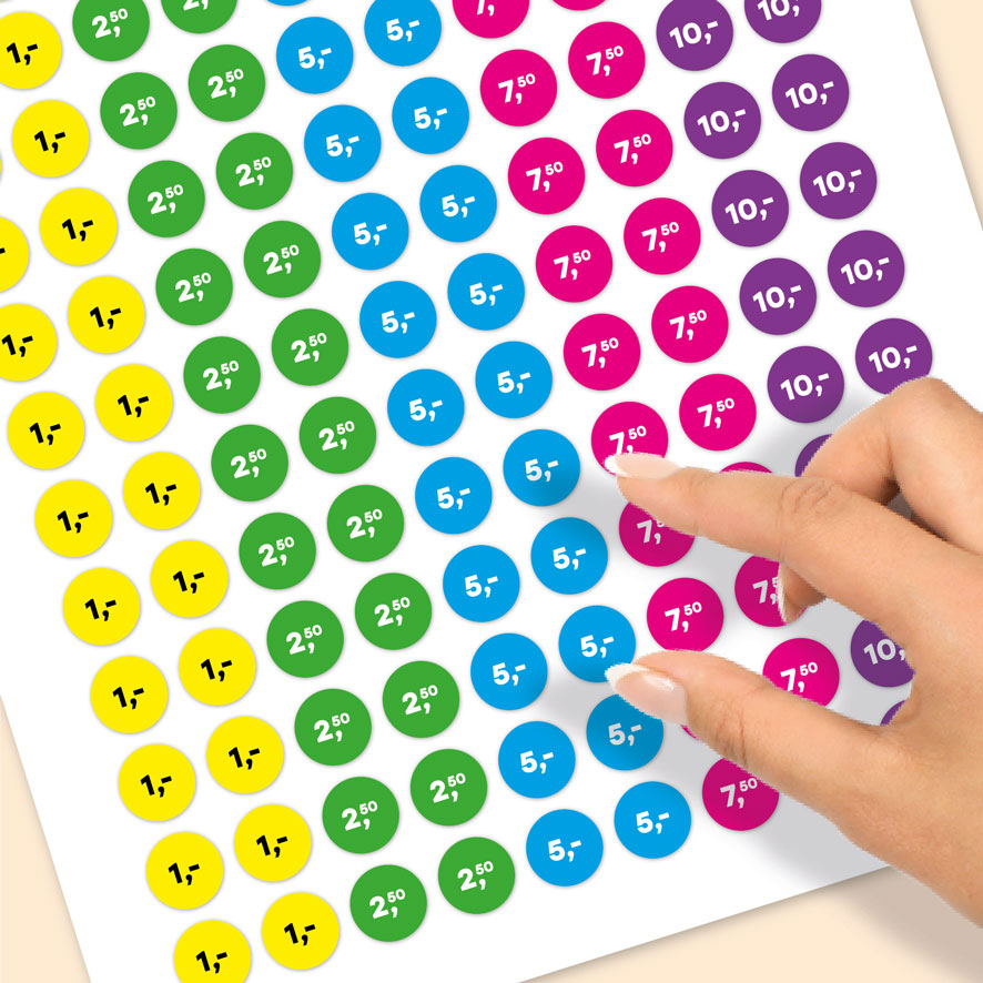 Stickervel prijsstickers 1 euro, 2,50 euro, 5 euro, 7,50 euro, 10 euro geel, groen, blauw, magenta, paars rond 15mm close-up