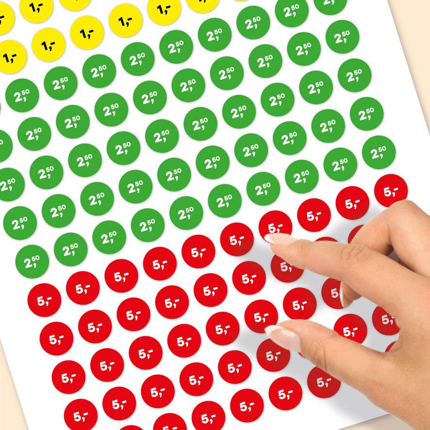 Stickervel prijsstickers 1 euro, 2,50 euro, 5 euro geel, groen, rood rond 15mm close-up