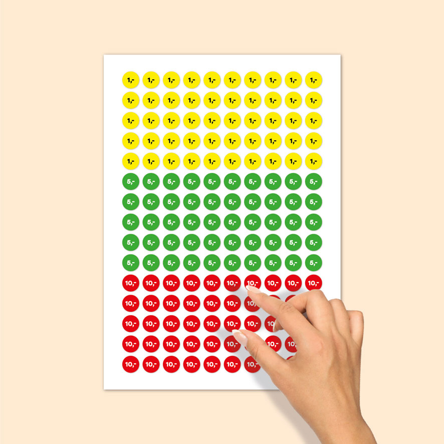 Stickervel prijsstickers 1 euro, 5 euro, 10 euro geel, groen, rood rond 15mm