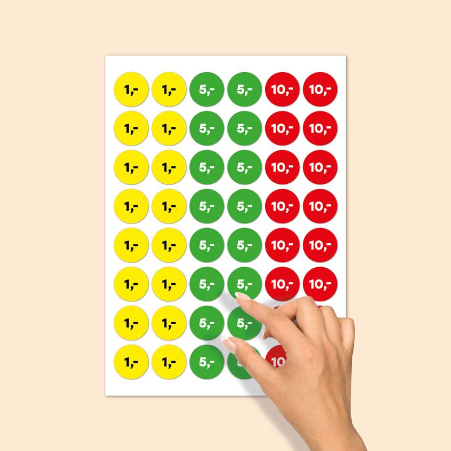 Stickervel prijsstickers 1 euro, 5 euro, 10 euro geel, groen, rood rond 30mm