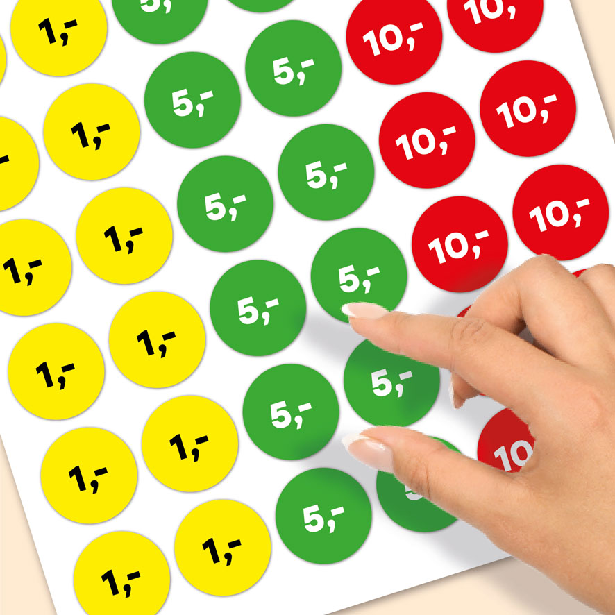 Stickervel prijsstickers 1 euro, 5 euro, 10 euro geel, groen, rood rond 30mm close-up