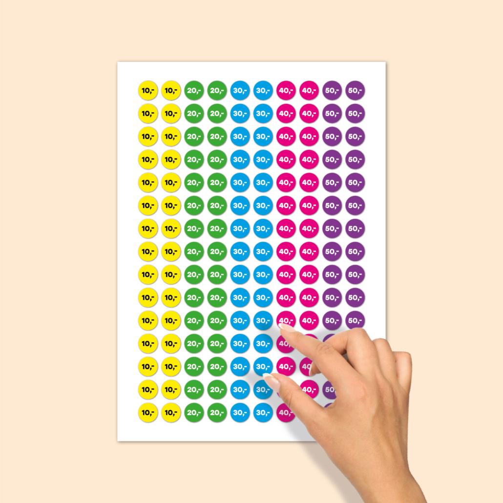 Stickervel prijsstickers 10 euro, 20 euro, 30 euro, 40 euro, 50 euro geel, groen, blauw, magenta, paars rond 15mm