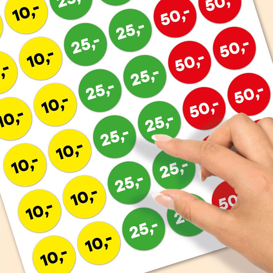 Stickervel prijsstickers 10 euro, 25 euro, 50 euro geel, groen, rood rond 30mm close-up