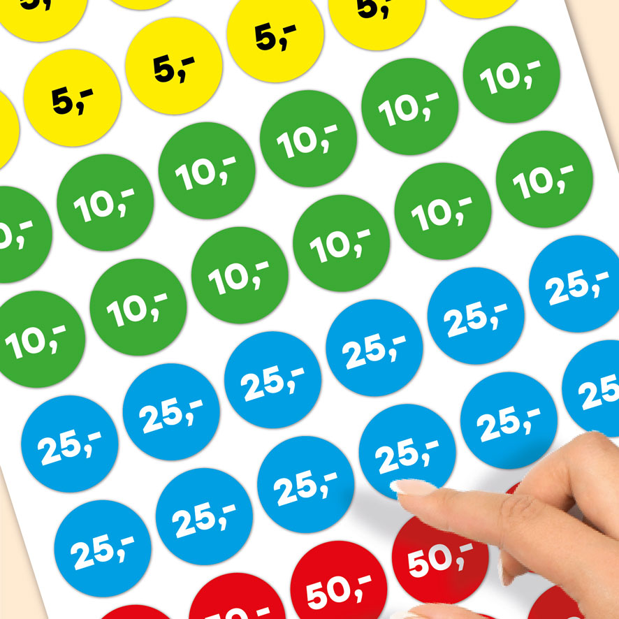 Stickervel prijsstickers 5 euro, 10 euro, 25 euro, 50 euro geel, groen, blauw, rood rond 30mm close-up