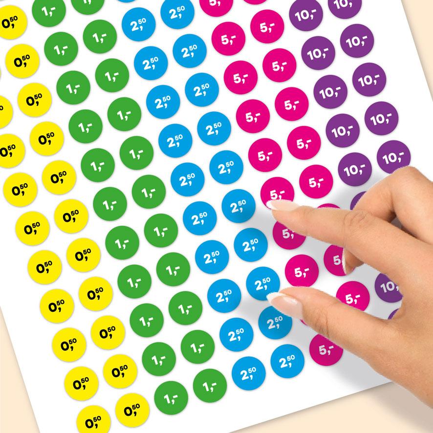 Stickervel prijsstickers 50 cent, 1 euro, 2,50 euro, 5 euro, 10 euro geel, groen, blauw, magenta, paars rond 15mm close-up