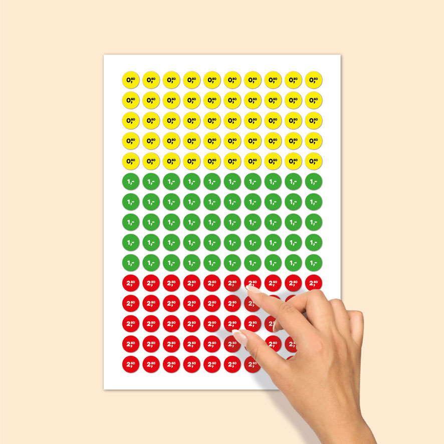 Stickervel prijsstickers 50 cent, 1 euro, 2,50 euro geel, groen, rood rond 15mm