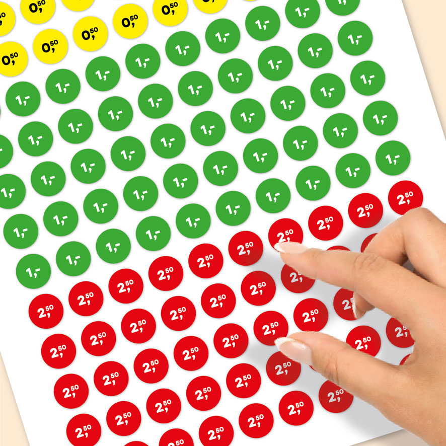 Stickervel prijsstickers 0,50, 1 euro, 2,50 euro geel, groen, rood rond 15mm close-up