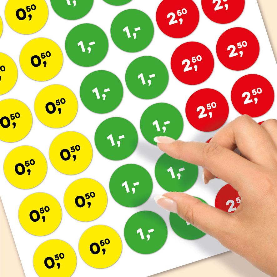 Stickervel prijsstickers 50 cent, 1 euro, 2,50 euro geel, groen, rood rond 30mm close-up