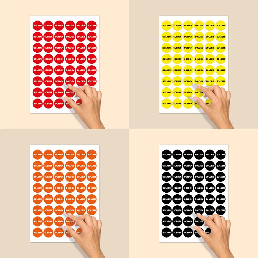 Stickervel solden stickers rood, geel, wit, zwart rond 15mm